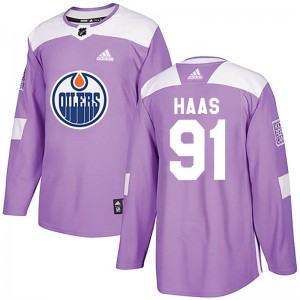 Gaetan Haas Edmonton Oilers Youth Adidas Authentic Purple Fights Cancer Practice Jersey