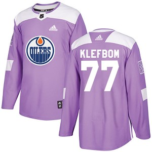 Oscar Klefbom Edmonton Oilers Youth Adidas Authentic Purple Fights Cancer Practice Jersey