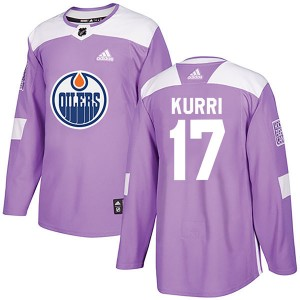 Jari Kurri Edmonton Oilers Youth Adidas Authentic Purple Fights Cancer Practice Jersey