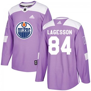 William Lagesson Edmonton Oilers Youth Adidas Authentic Purple Fights Cancer Practice Jersey
