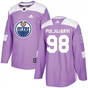 Jesse Puljujarvi Edmonton Oilers Youth Adidas Authentic Purple Fights Cancer Practice Jersey