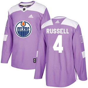 Kris Russell Edmonton Oilers Youth Adidas Authentic Purple Fights Cancer Practice Jersey