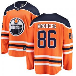 Philip Broberg Edmonton Oilers Youth Fanatics Branded Orange Breakaway Home Jersey
