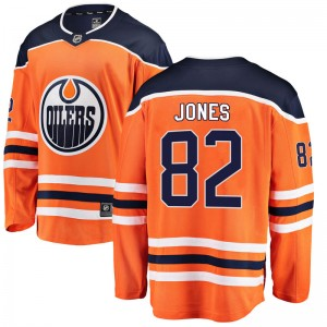 Caleb Jones Edmonton Oilers Youth Fanatics Branded Orange Breakaway Home Jersey