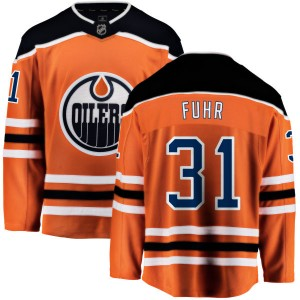 Grant Fuhr Edmonton Oilers Youth Fanatics Branded Orange Home Breakaway Jersey