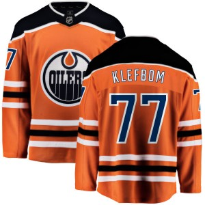 Oscar Klefbom Edmonton Oilers Youth Fanatics Branded Orange Home Breakaway Jersey