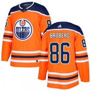 Philip Broberg Edmonton Oilers Men's Adidas Authentic Orange r Home Jersey