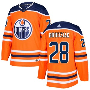Kyle Brodziak Edmonton Oilers Men's Adidas Authentic Orange r Home Jersey