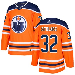 Anthony Stolarz Edmonton Oilers Men's Adidas Authentic Orange r Home Jersey