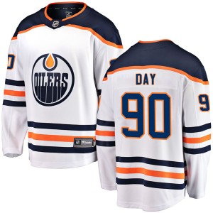 Logan Day Edmonton Oilers Youth Fanatics Branded White Breakaway Away Jersey