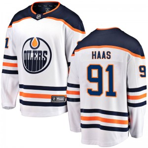 Gaetan Haas Edmonton Oilers Youth Fanatics Branded White Breakaway Away Jersey