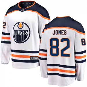 Caleb Jones Edmonton Oilers Youth Fanatics Branded White Breakaway Away Jersey