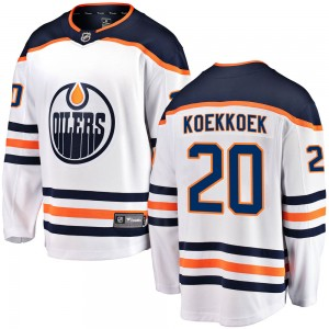Slater Koekkoek Edmonton Oilers Youth Fanatics Branded White Breakaway Away Jersey