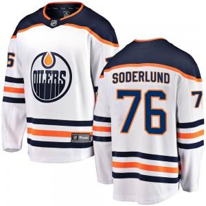 Tim Soderlund Edmonton Oilers Youth Fanatics Branded White Breakaway Away Jersey