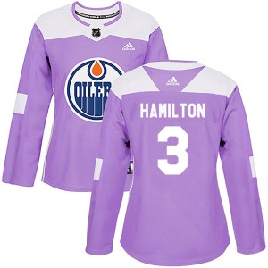 Al Hamilton Edmonton Oilers Women's Adidas Authentic Purple Fights Cancer Practice Jersey