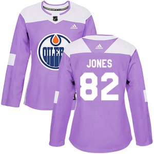 Caleb Jones Edmonton Oilers Women's Adidas Authentic Purple Fights Cancer Practice Jersey
