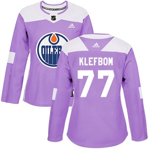 Oscar Klefbom Edmonton Oilers Women's Adidas Authentic Purple Fights Cancer Practice Jersey