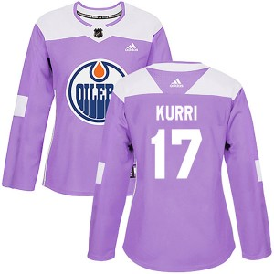 Jari Kurri Edmonton Oilers Women's Adidas Authentic Purple Fights Cancer Practice Jersey