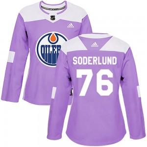 Tim Soderlund Edmonton Oilers Women's Adidas Authentic Purple Fights Cancer Practice Jersey