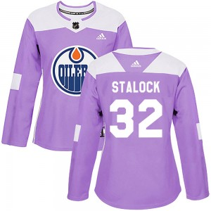 Alex Stalock Edmonton Oilers Women's Adidas Authentic Purple Fights Cancer Practice Jersey