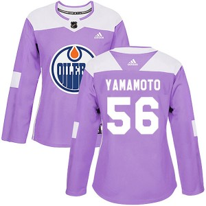Kailer Yamamoto Edmonton Oilers Women's Adidas Authentic Purple Fights Cancer Practice Jersey