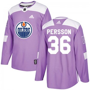 Joel Persson Edmonton Oilers Men's Adidas Authentic Purple Fights Cancer Practice Jersey