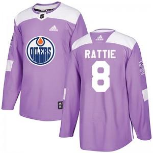 Ty Rattie Edmonton Oilers Men's Adidas Authentic Purple Fights Cancer Practice Jersey