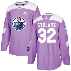 Anthony Stolarz Edmonton Oilers Men's Adidas Authentic Purple Fights Cancer Practice Jersey