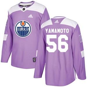 Kailer Yamamoto Edmonton Oilers Men's Adidas Authentic Purple Fights Cancer Practice Jersey