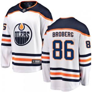 Philip Broberg Edmonton Oilers Men's Fanatics Branded White Breakaway Away Jersey