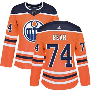 Ethan Bear Edmonton Oilers Women's Adidas Authentic Orange r Home Jersey