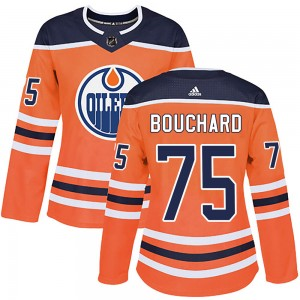 Evan Bouchard Edmonton Oilers Women's Adidas Authentic Orange ized r Home Jersey