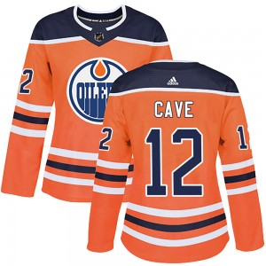 Colby Cave Edmonton Oilers Women's Adidas Authentic Orange r Home Jersey