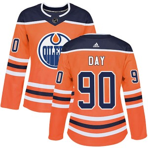Logan Day Edmonton Oilers Women's Adidas Authentic Orange r Home Jersey