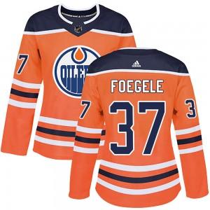 Warren Foegele Edmonton Oilers Women's Adidas Authentic Orange r Home Jersey