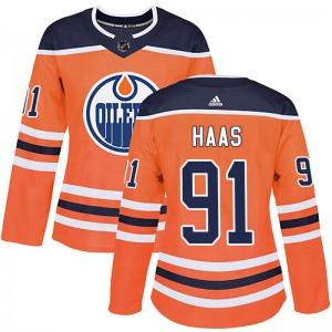 Gaetan Haas Edmonton Oilers Women's Adidas Authentic Orange r Home Jersey