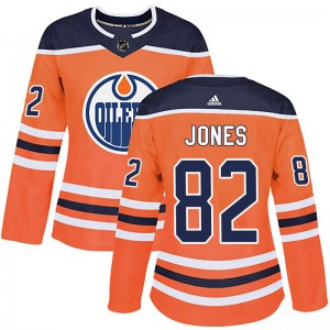 Caleb Jones Edmonton Oilers Women's Adidas Authentic Orange r Home Jersey