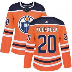 Slater Koekkoek Edmonton Oilers Women's Adidas Authentic Orange r Home Jersey
