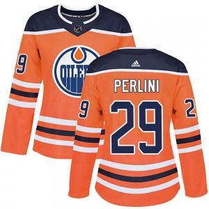 Brendan Perlini Edmonton Oilers Women's Adidas Authentic Orange r Home Jersey