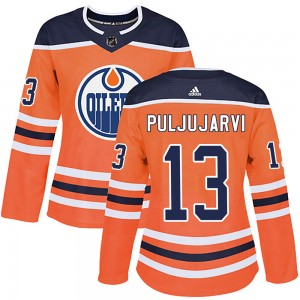 Jesse Puljujarvi Edmonton Oilers Women's Adidas Authentic Orange r Home Jersey