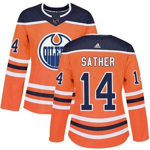 Glen Sather Edmonton Oilers Women's Adidas Authentic Orange r Home Jersey