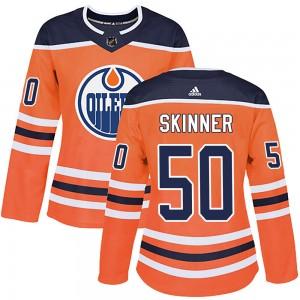 Stuart Skinner Edmonton Oilers Women's Adidas Authentic Orange ized r Home Jersey