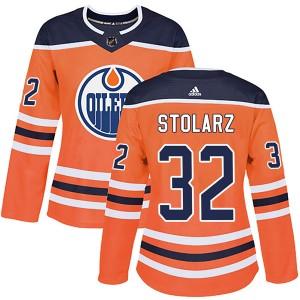 Anthony Stolarz Edmonton Oilers Women's Adidas Authentic Orange r Home Jersey