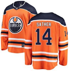 Glen Sather Edmonton Oilers Men's Fanatics Branded Authentic Orange r Home Breakaway Jersey