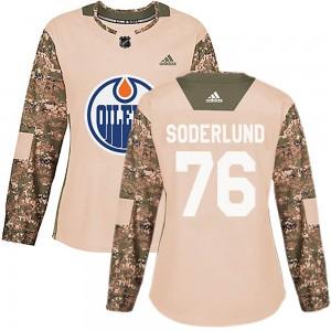 Tim Soderlund Edmonton Oilers Women's Adidas Authentic Camo Veterans Day Practice Jersey