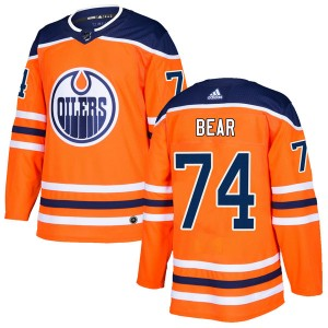 Ethan Bear Edmonton Oilers Youth Adidas Authentic Orange r Home Jersey