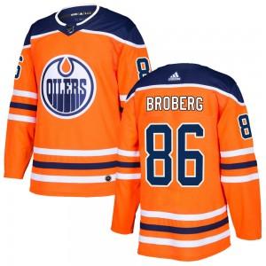Philip Broberg Edmonton Oilers Youth Adidas Authentic Orange r Home Jersey