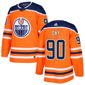 Logan Day Edmonton Oilers Youth Adidas Authentic Orange r Home Jersey