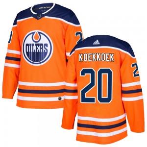 Slater Koekkoek Edmonton Oilers Youth Adidas Authentic Orange r Home Jersey