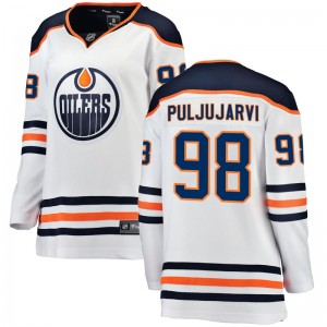 Jesse Puljujarvi Edmonton Oilers Women's Fanatics Branded Authentic White Away Breakaway Jersey